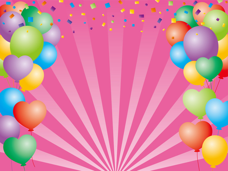 Balloon and confetti background material (pink)