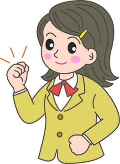 Girls high school student who works hard