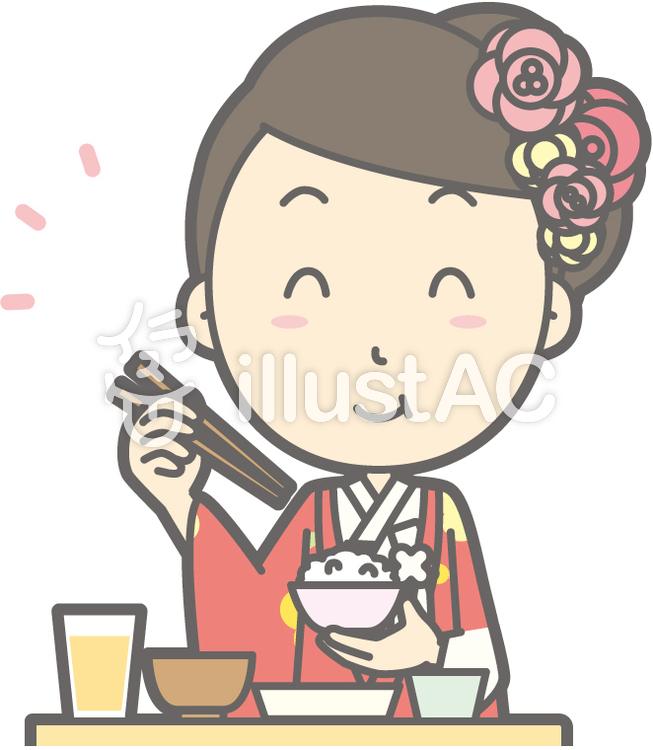 色打掛-おいしい和食-バストのイラスト