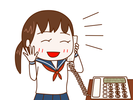 Female student talking happily on the phone