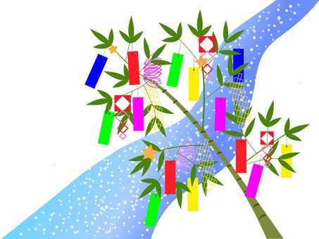 Tanabata decoration and the Milky Way ___ No Background