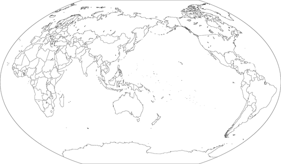 World map-Winkel projection asia-Borders