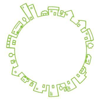 円形の街並みの商用無料イラスト素材