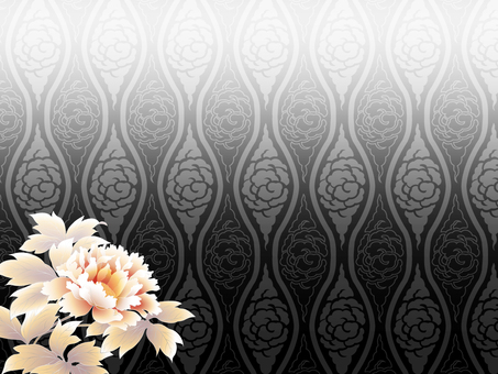 Pattern of black cloud pattern and peony background