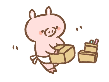 Pig who packs up her luggage