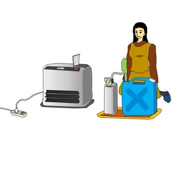 一個女人供應煤油