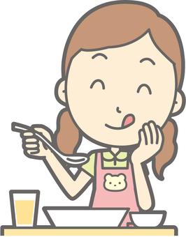 Nursery teacher woman - delicious Western food - bust