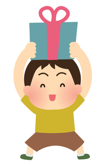 Illustration of a boy who is pleased to receive a present