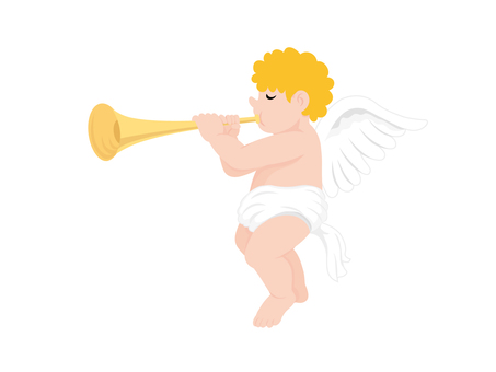 An angel blowing a whistle