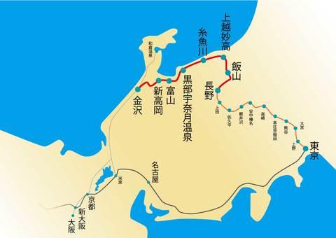 Hokuriku Shinkansen route map
