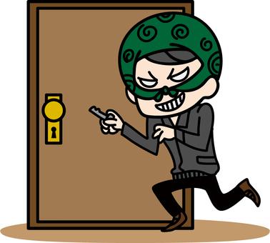 小偷試圖打開門