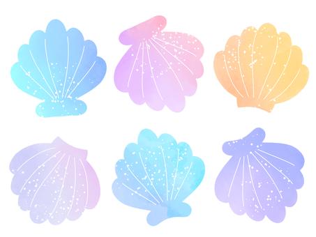 Watercolor material set 01 of shells