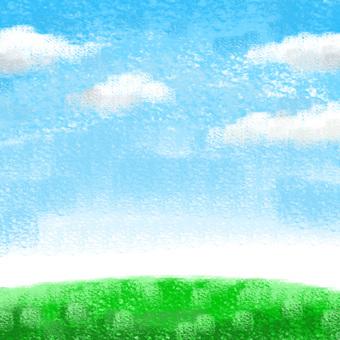 蜡笔触摸的蓝天