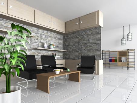 Living room rocky wall