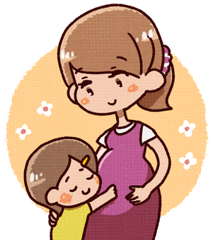 An older sister who hugs her stomach baby