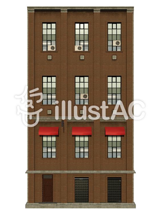 四階建ての雑居商業ビル(正面)のイラスト