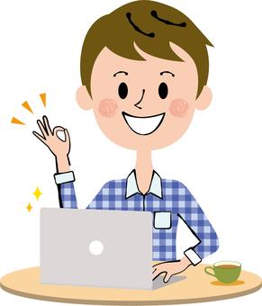 PC work private clothes Men's desk cream color
