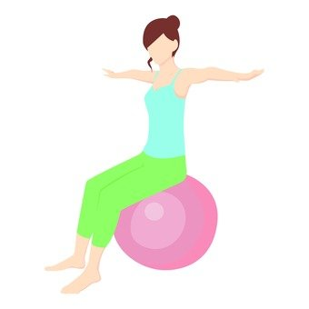Diet - a woman riding a balance ball (blue)
