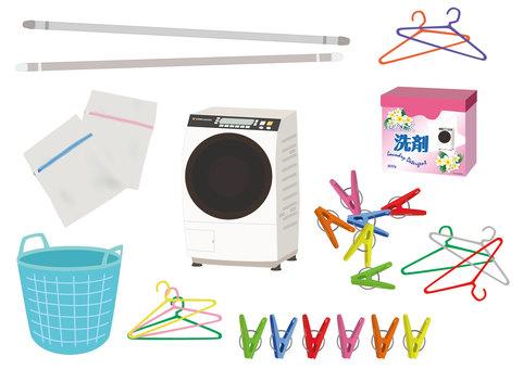 Laundry related illustration set