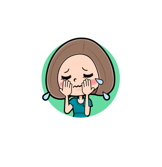 Green dress young woman icon cry