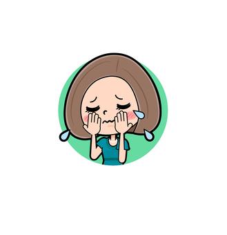 緑ドレス若い女性 アイコン泣く