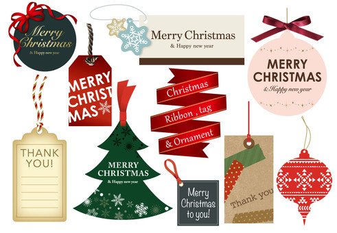 Christmas tags and ribbons