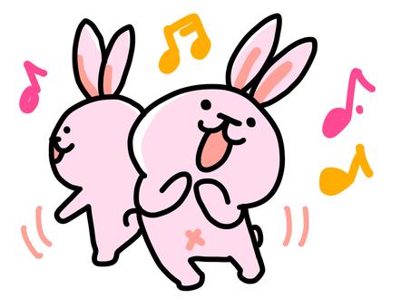 歌って踊るうさぎ