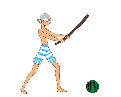 Boy who splits watermelon