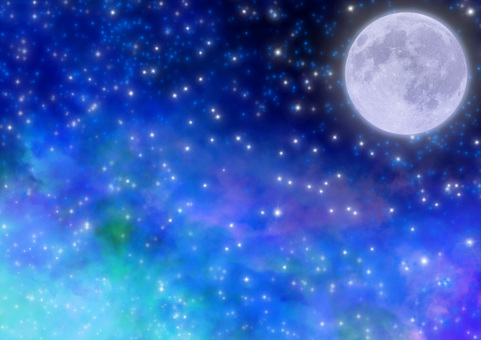 Full moon in the starry sky