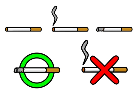 Tobacco icon set (with outline)