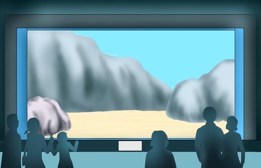 Aquarium background with audience