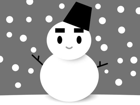 【モノクロ】雪だるま03