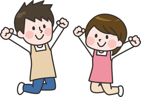 Jumping apron man and woman