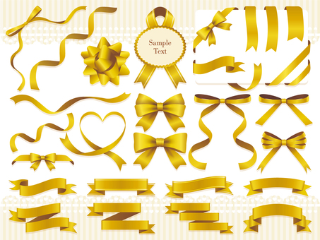 Gold ribbon ornament set
