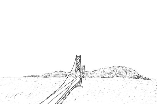 Akashi Kaikyo Bridge and Awaji Island (monochrome)