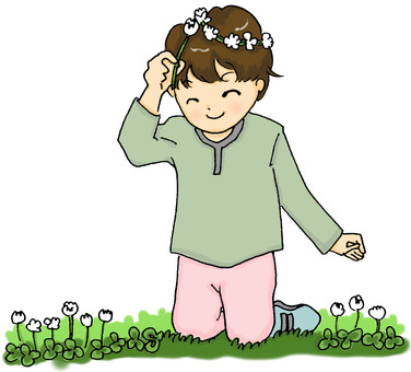 White clover and a boy