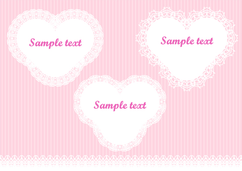 Heart-shaped lace frame set pink background