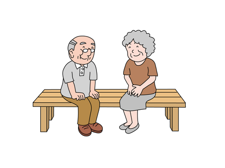 An old couple sitting on the bench