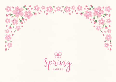 Spring background frame 011 Sakura watercolor