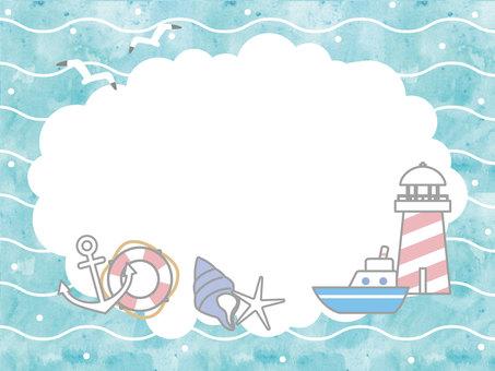 Sea card watercolor