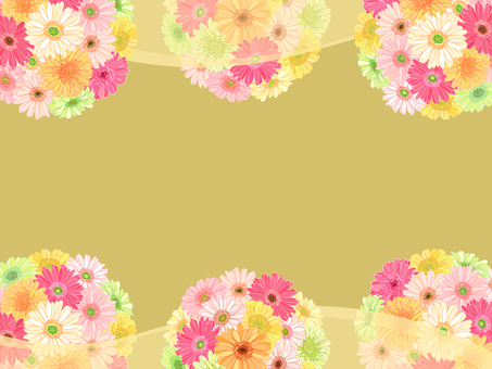 ガーベラの花てまり枠(黄色)背景付