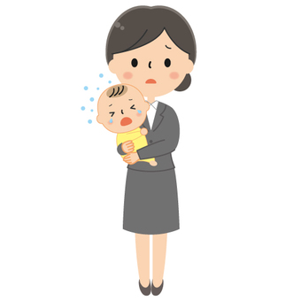 Mother holding a baby / Child companion attendance