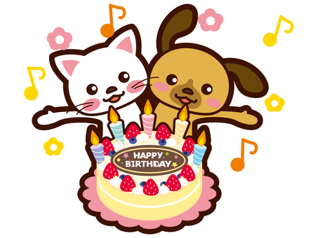 Dog and cat are celebrating your birthday