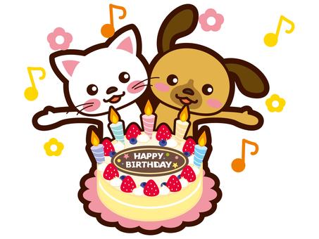 狗和猫正在庆祝你的生日