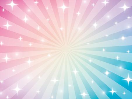 虹色パステルのキラキラ放射背景