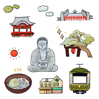 Illustration set of sightseeing spots in Kamakura, Kanagawa Prefecture