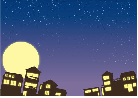 Background of residential area at night