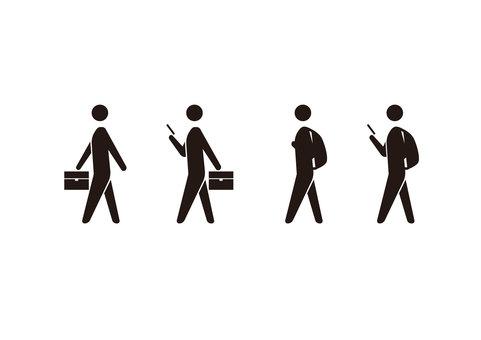 Person commuting school smartphone