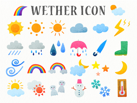 Weather hand-drawn wind icon set