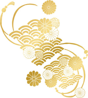 Chrysanthemum pattern (gold · bright)